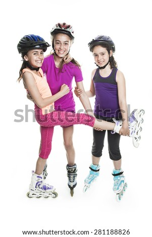 portrait of girl on rollers skating isolated on white background - stock photo