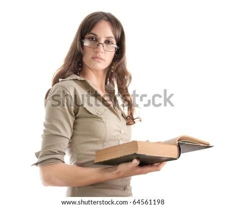 Portrait of girl reading book with glasses