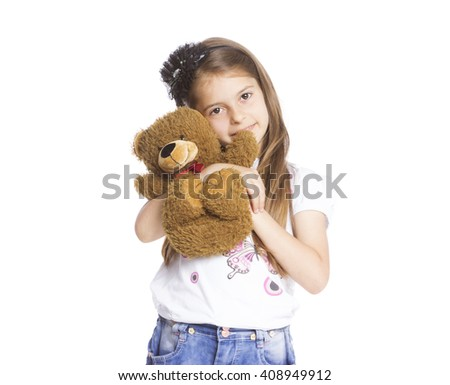 Portrait of girl showing sign - stock photo