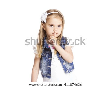 Portrait of girl showing sign isolated on white - stock photo
