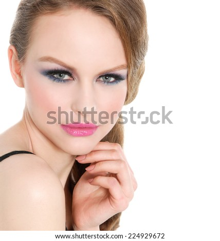 portrait of girl with bright make-up - stock photo