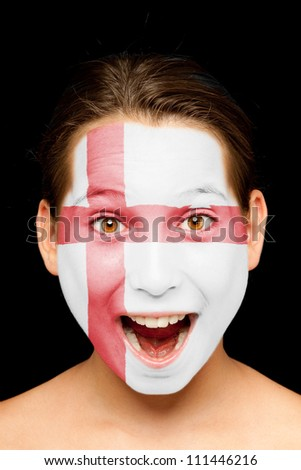 portrait of girl with england flag painted on her face - stock photo