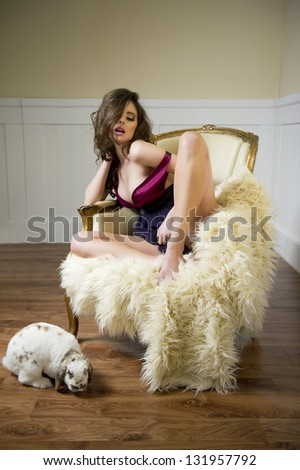 Portrait of girl with old chair and beauty face - stock photo