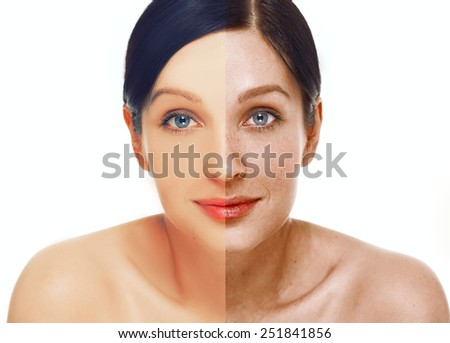 Portrait of girl with problem and clear skin, aging and youth concept  - stock photo