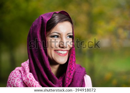 Portrait of girl with shawl. - stock photo