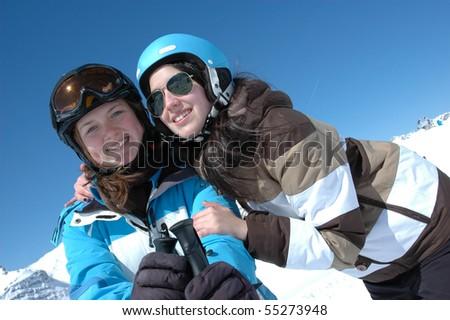 Portrait of girlfriends having fun - stock photo