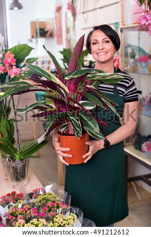 Portrait of glad pleasant smiling female florist arranging a calathea flower in the gardening department