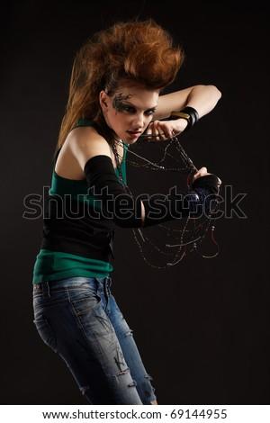 portrait of glam punk redhead girl - stock photo