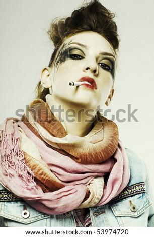 portrait of glam punk redhead girl smoking cigarette - stock photo
