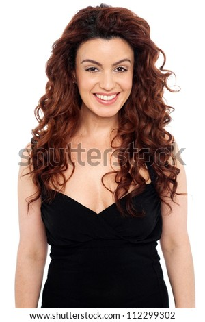 Portrait of glamorous woman dressed in party wear isolated on white background - stock photo