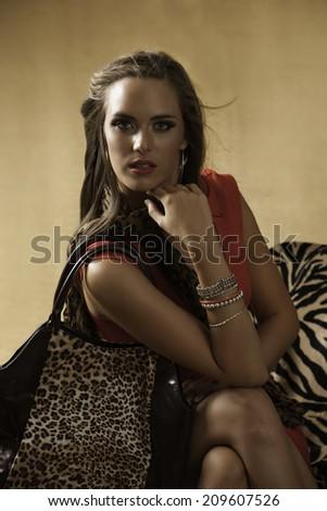 Portrait of glamorous woman in red dress with animal print handbag - stock photo