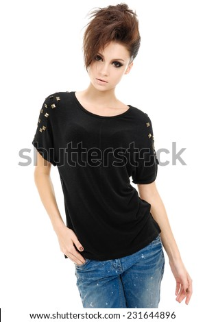 portrait of glamour young girl in jeans with beautiful short hair - stock photo