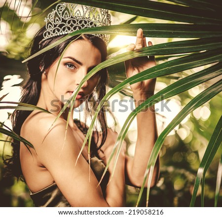 Portrait of gorgeous lady with tiara on a head  - stock photo