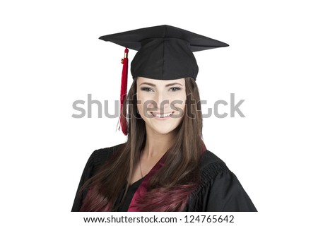 Portrait of graduating female student with a toothy smile over the white surface - stock photo