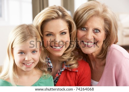 Portrait Of Grandmother,Mother And Daughter - stock photo