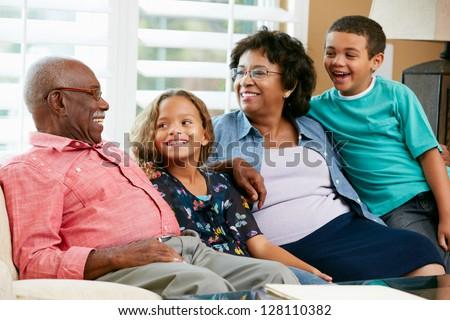 Portrait Of Grandparents With Grandchildren - stock photo