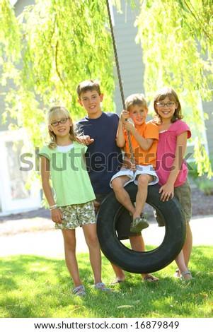 Portrait of group of children - stock photo