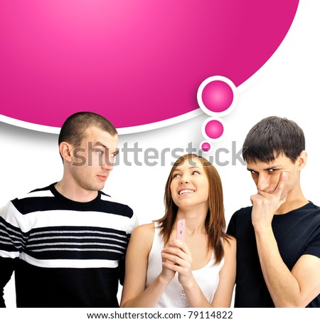 Portrait of group of people - one girl with positive pregnancy test and two men thinking about paternity - stock photo