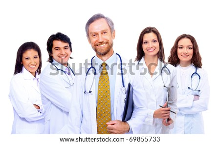 Portrait of group of smiling hospital colleagues standing together