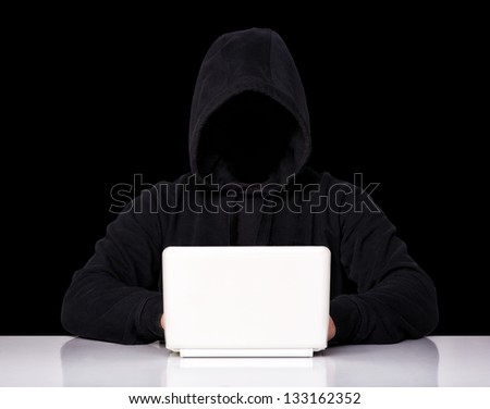 portrait of hacker isolated on black background