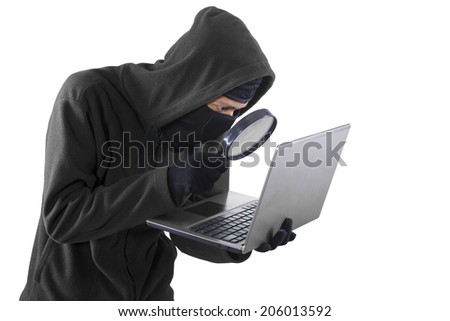 Portrait of hacker isolated on white background