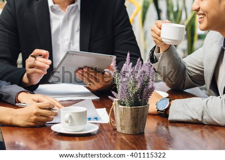 portrait of hand Close up working process at business meeting - stock photo