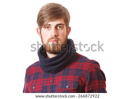 Portrait of handsome bearded young hipster isolated on a white background