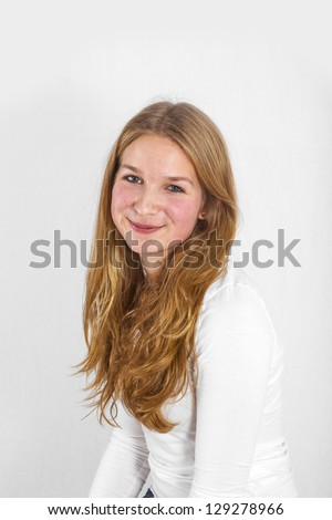 portrait of handsome beautiful young girl with long hair