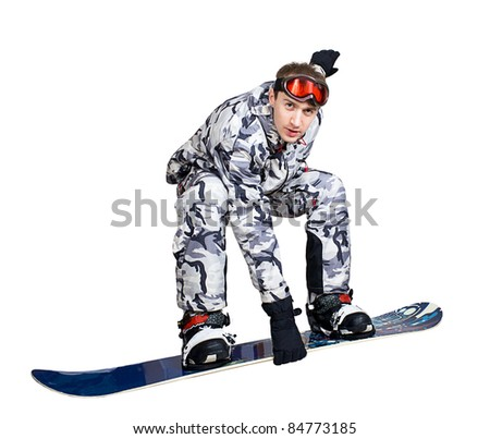 Portrait of handsome boy in sportswear with snowboard isolated on a white background