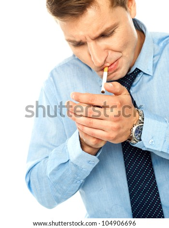 Portrait of handsome businessman with cigarette on white - stock photo
