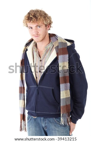 Portrait of handsome Caucasian man wearing casual winter clothes on white background. NOT ISOLATED - stock photo