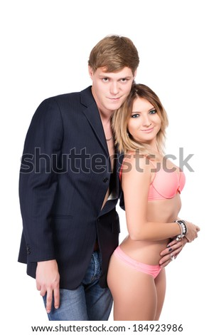 Portrait of handsome man and pretty woman in lingerie. Isolated on white - stock photo