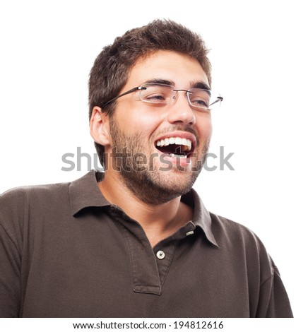 portrait of handsome man having fun over abstract background