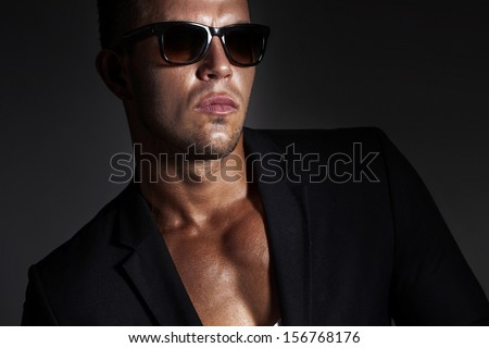 Portrait of handsome man wearing sunglasses.