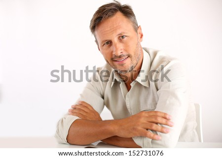 Portrait of handsome man, white background