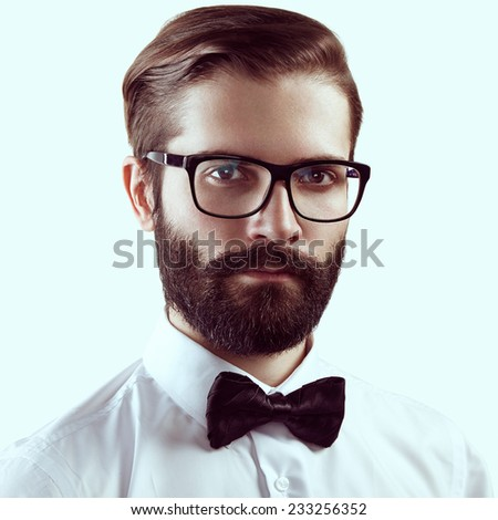 Portrait of handsome man with beard. Fashion photo. Businessman
