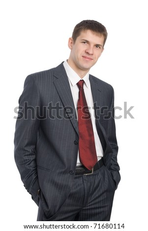 Portrait of handsome smiling young businessman. Isolated on white. - stock photo