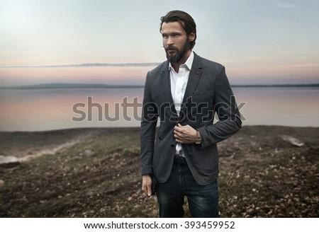 Portrait of handsome stylish man - stock photo