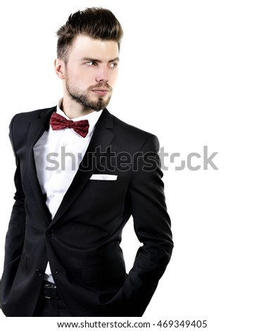 Portrait Handsome Stylish Man Elegant Black Stock Photo 469349405 ...