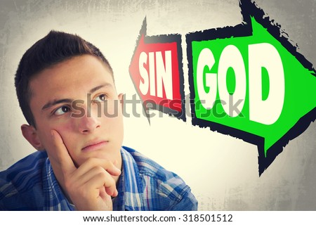 Portrait of handsome teenage boy facing great dilemma to choose between SIN and GOD. Facial expression. Grunge background. Pointing arrows - stock photo