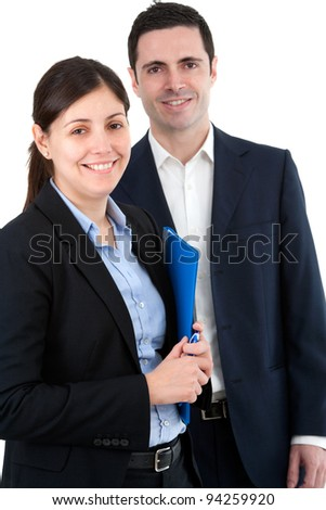 Portrait of handsome young business couple. Isolated on white. - stock photo