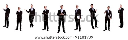 Portrait of handsome young business man many action against white background - stock photo