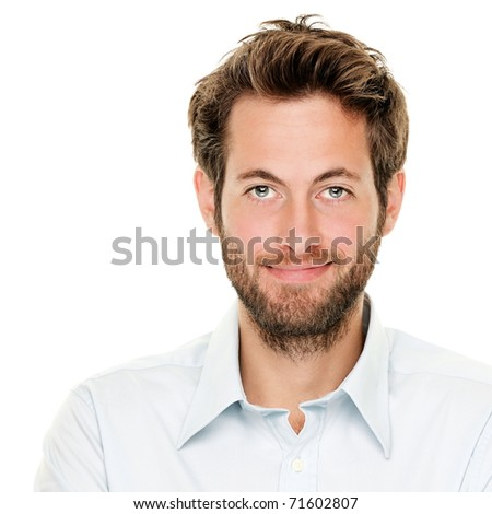 Portrait of handsome young man isolated on white background. Caucasian man with beard smiling. - stock photo