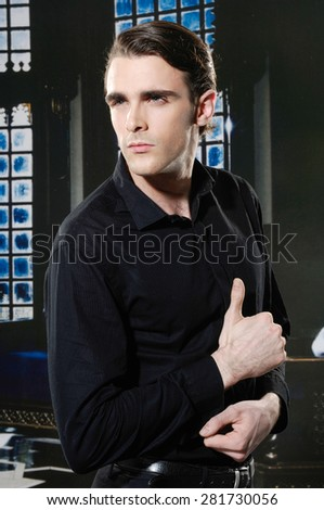 portrait of handsome young man posing