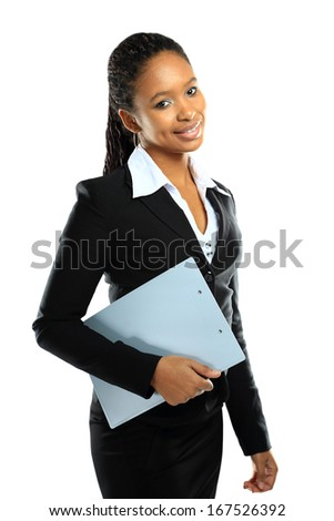 Portrait of happy African American business woman holding clipboard - stock photo