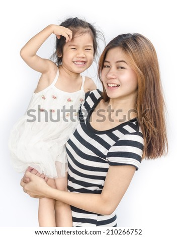 Portrait of happy asian little girl with her mother   isolated over white background. - stock photo