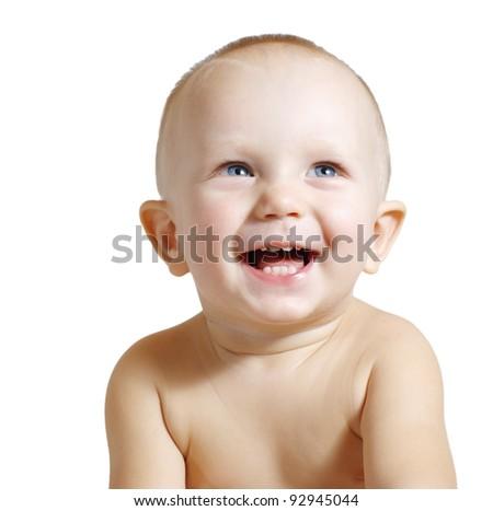 Portrait of happy baby boy - stock photo