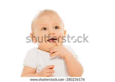Portrait of happy baby with finger in his mouth