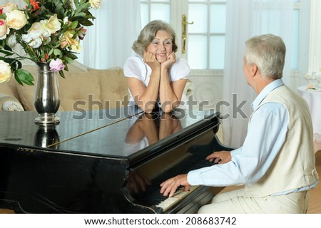 Portrait of happy beautiful elderly couple at home - stock photo