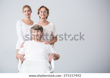 Portrait of happy beautiful family girls together - stock photo